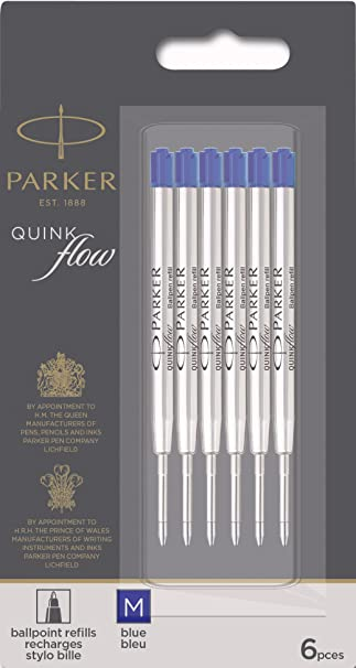 BLACK MEDIUM NIB PRICE OFFER 5 X Parker Ball Point Pen Refill Biro Quink Ink