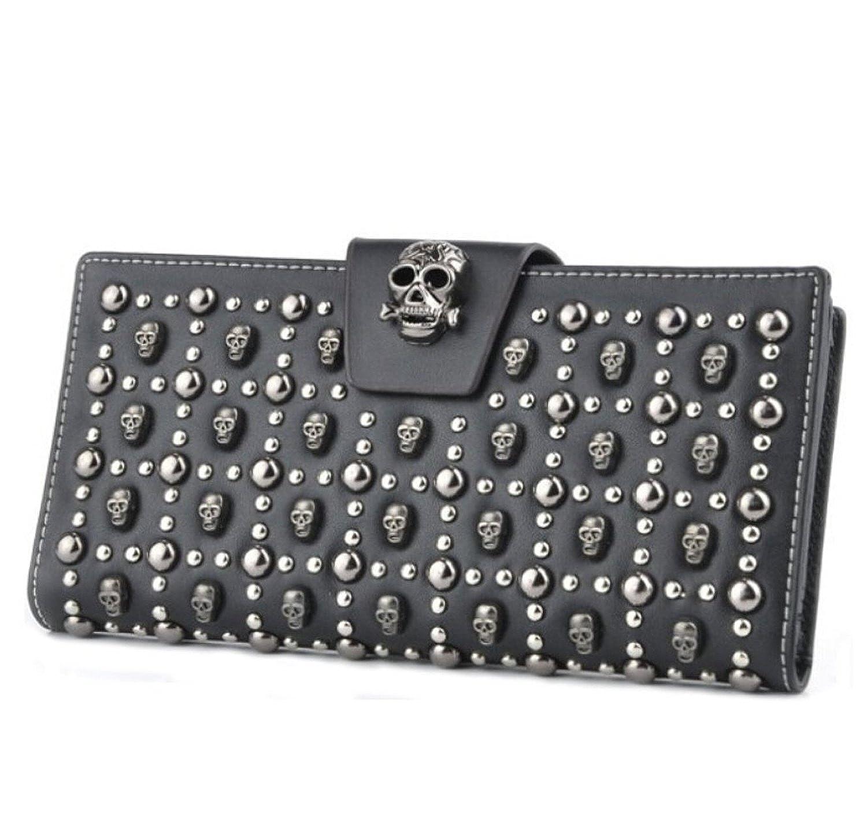 YeSiYan Women's Leather Card Holder Wallet Skull Designer Clutch Purses Black