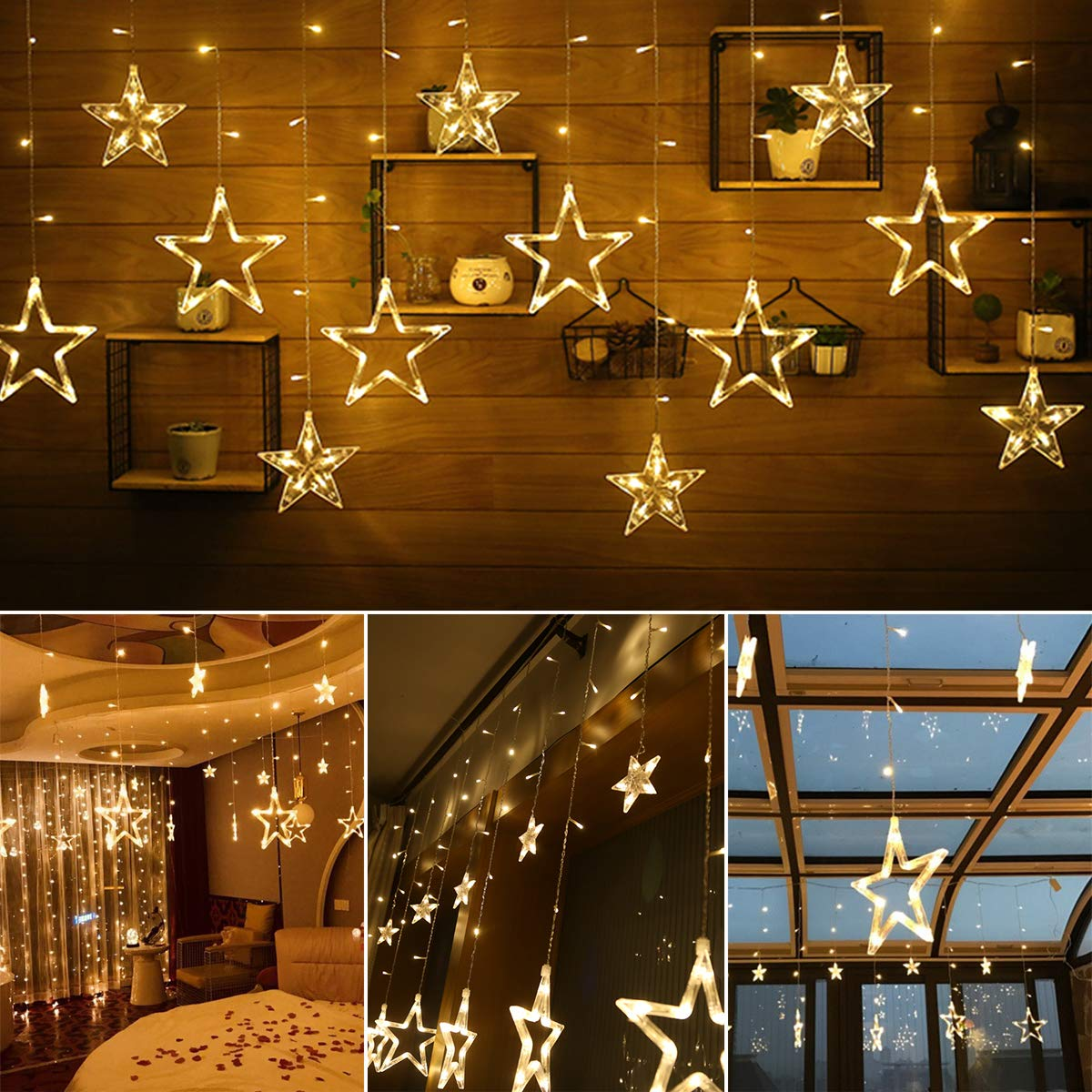 ALOVECO Star Curtain Lights with Remote, 12 Stars 138 LEDs Window Curtain String Lights Waterproof with 8 Flashing Modes Decoration for Christmas, Wedding, Party, Home, Patio Lawn, Warm White by ALOVECO (Image #5)