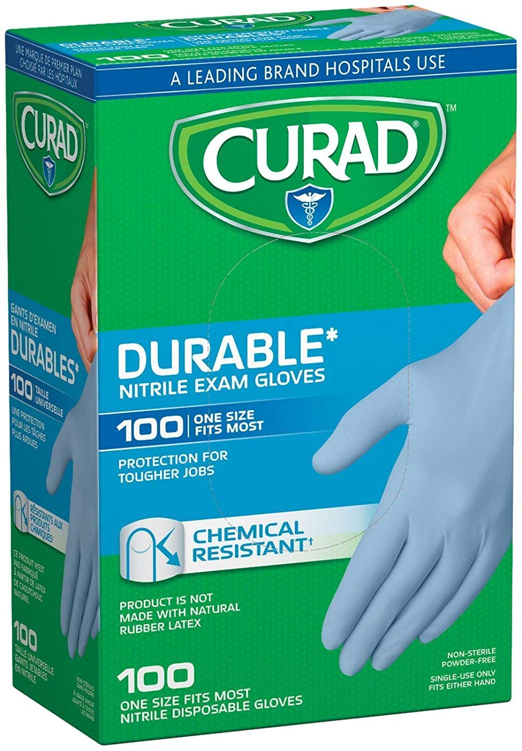 Curad Nitrile Disposable Exam Gloves, Durable and Chemical Resistant, Powder Free, One Size Fits Most (100 Count), Great for First aid, Medical use, Cleaning, pet Care (3)