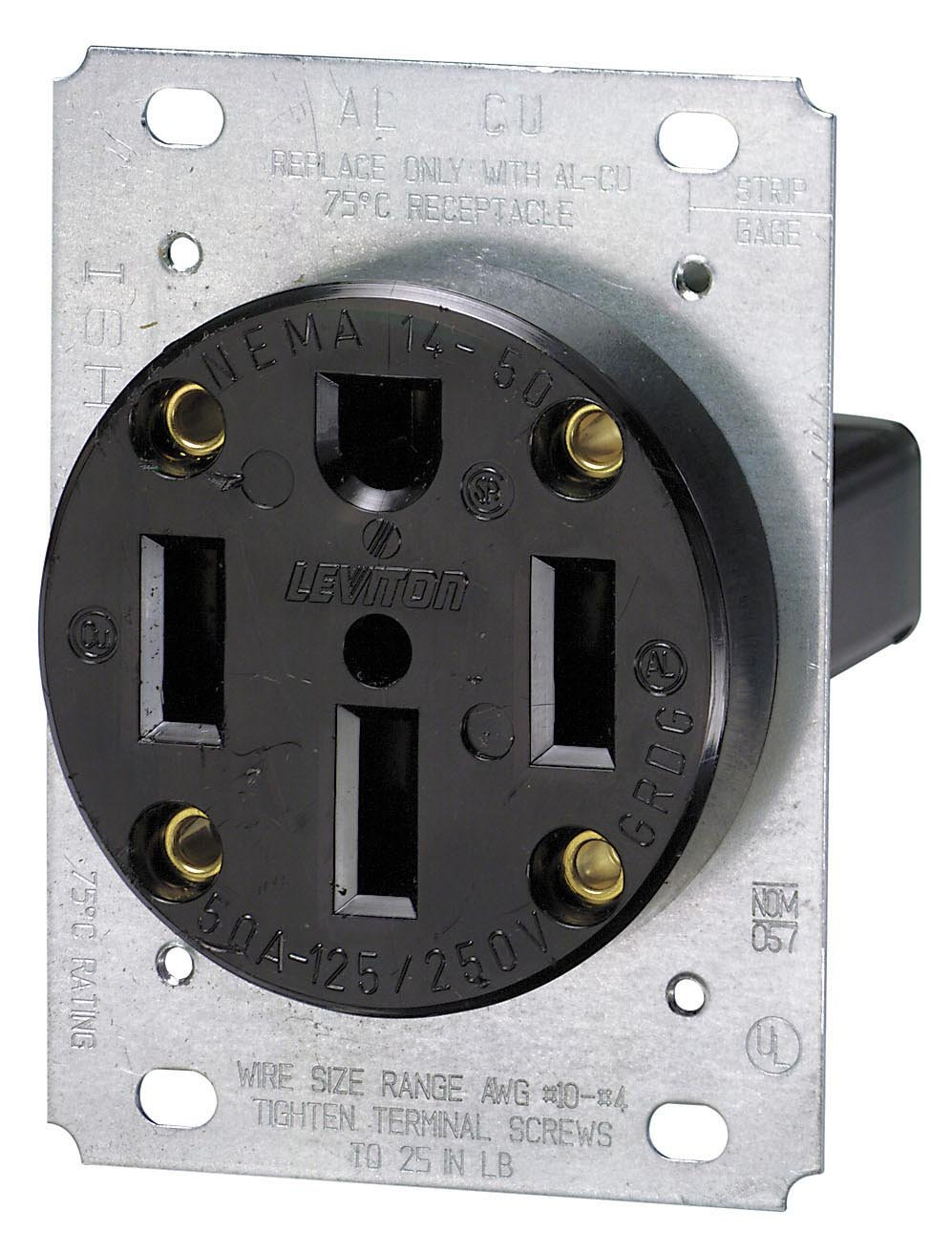 Leviton 279 50 Amp 125 250 Volt Nema 14 50r 3p 4w Dryer Outlet Wiring On 3 Wire Diagram Electric Flush Mounting Receptacle Straight Blade Industrial Grade Grounding Side Wired
