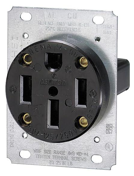 Leviton 279 50 amp 125250 volt nema 14 50r 3p 4w flush image unavailable sciox Choice Image
