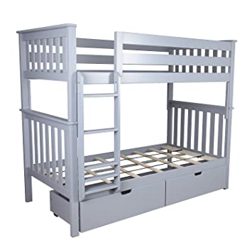 Max Lily Solid Wood Twin Over Bunk Bed With Under Storage Drawers