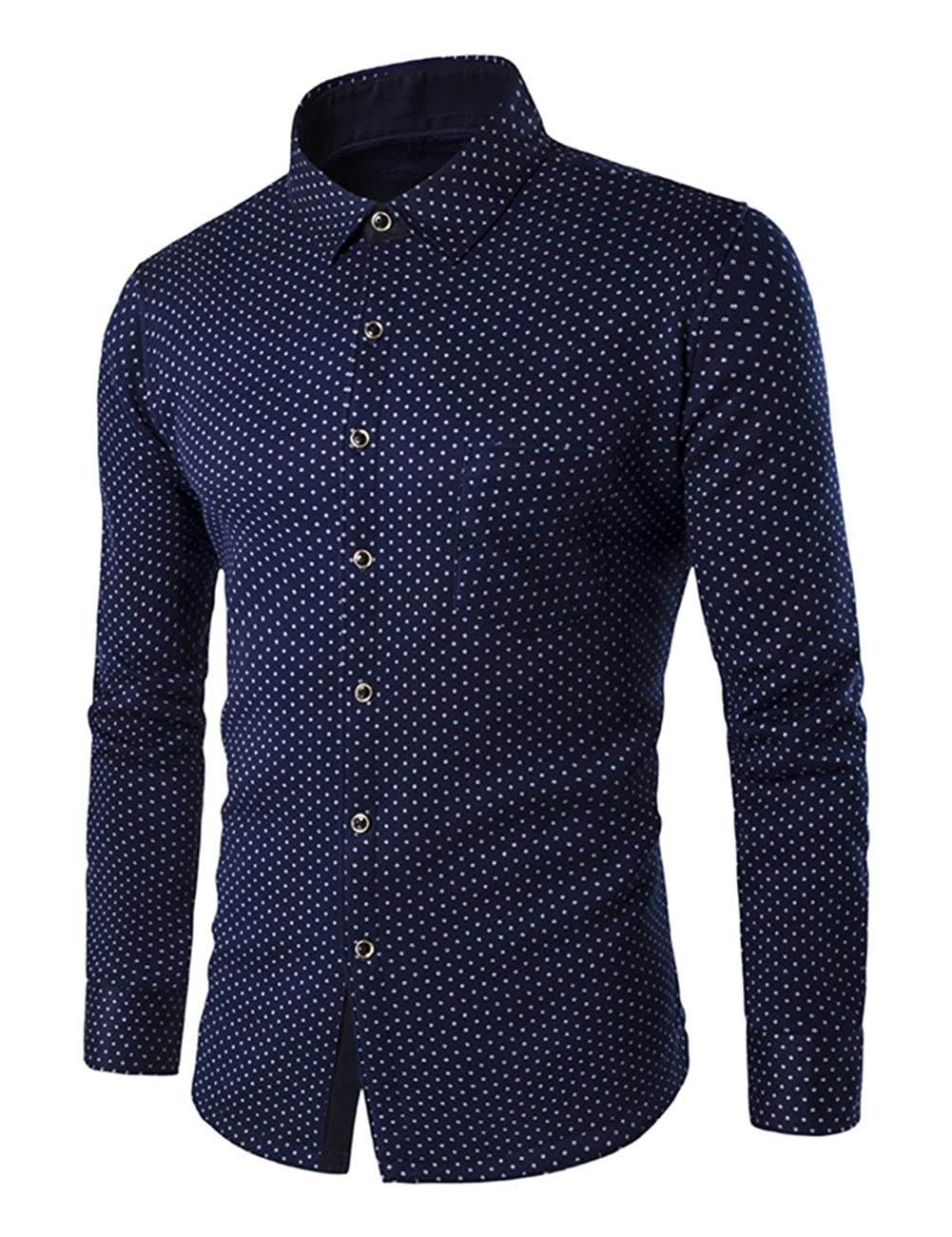 BU2H Men Long Sleeve Geometric Thin Stylish Button up Dress Shirts