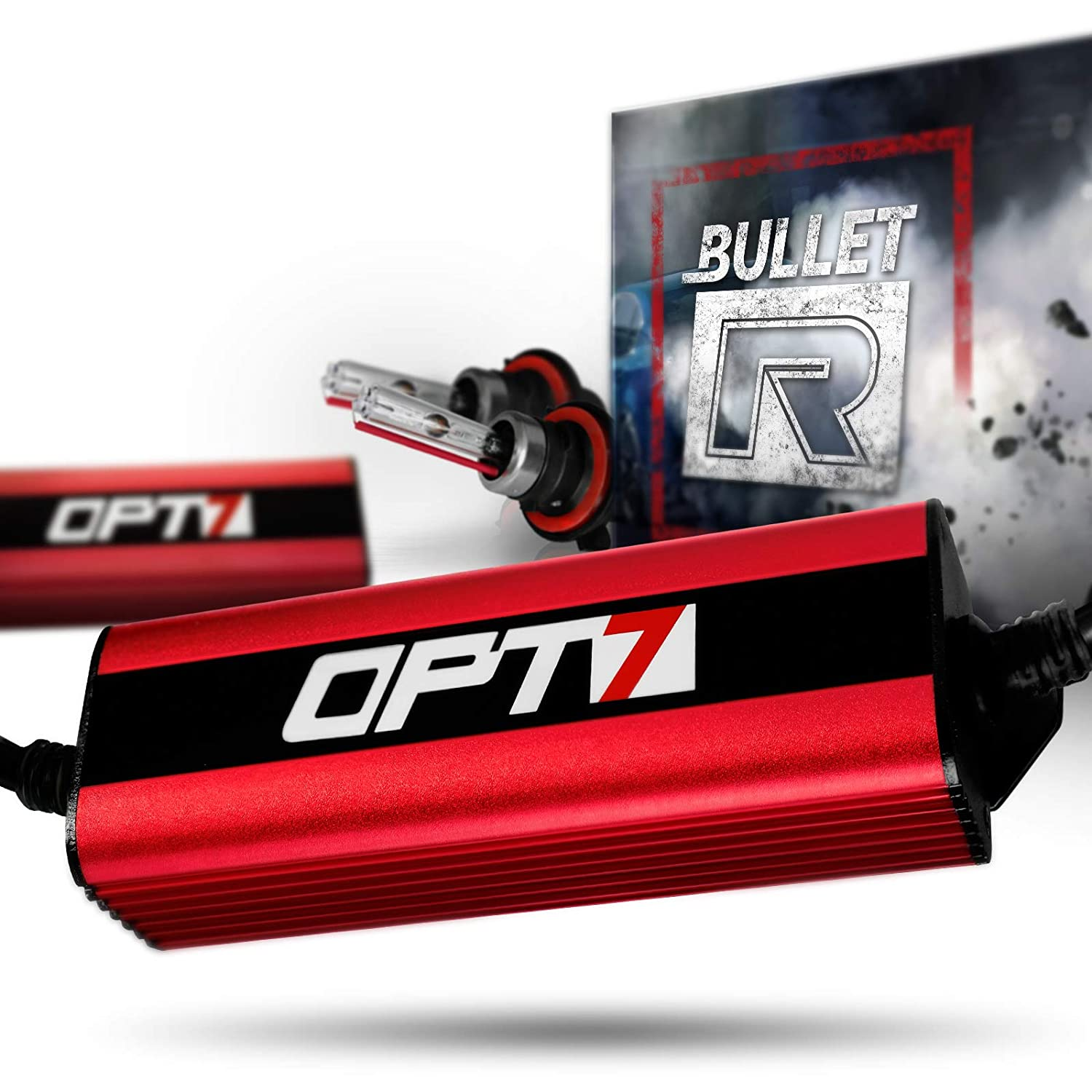 OPT7 Bullet-R 9007 Bi-Xenon HID Kit - 3X Brighter - 4X Longer Life - All Bulb Sizes and Colors - 2 Yr Warranty [5000K Bright White Light]
