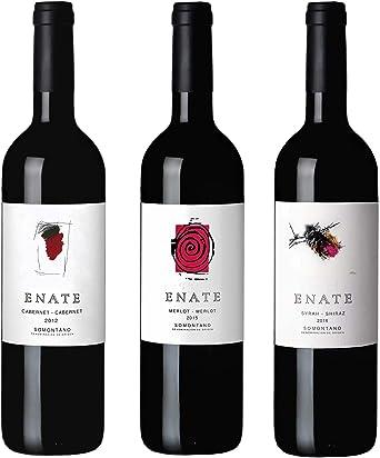Estuche Monovarietales Tintos - Vino Tinto - ENATE Cabernet - Cabernet 2012, ENATE Merlot - Merlot 2015, ENATE Syrah - Shiraz 2016 - D.O. Somontano - Paquete de 3 Botellas - 75cl: Amazon.es: Alimentación y bebidas