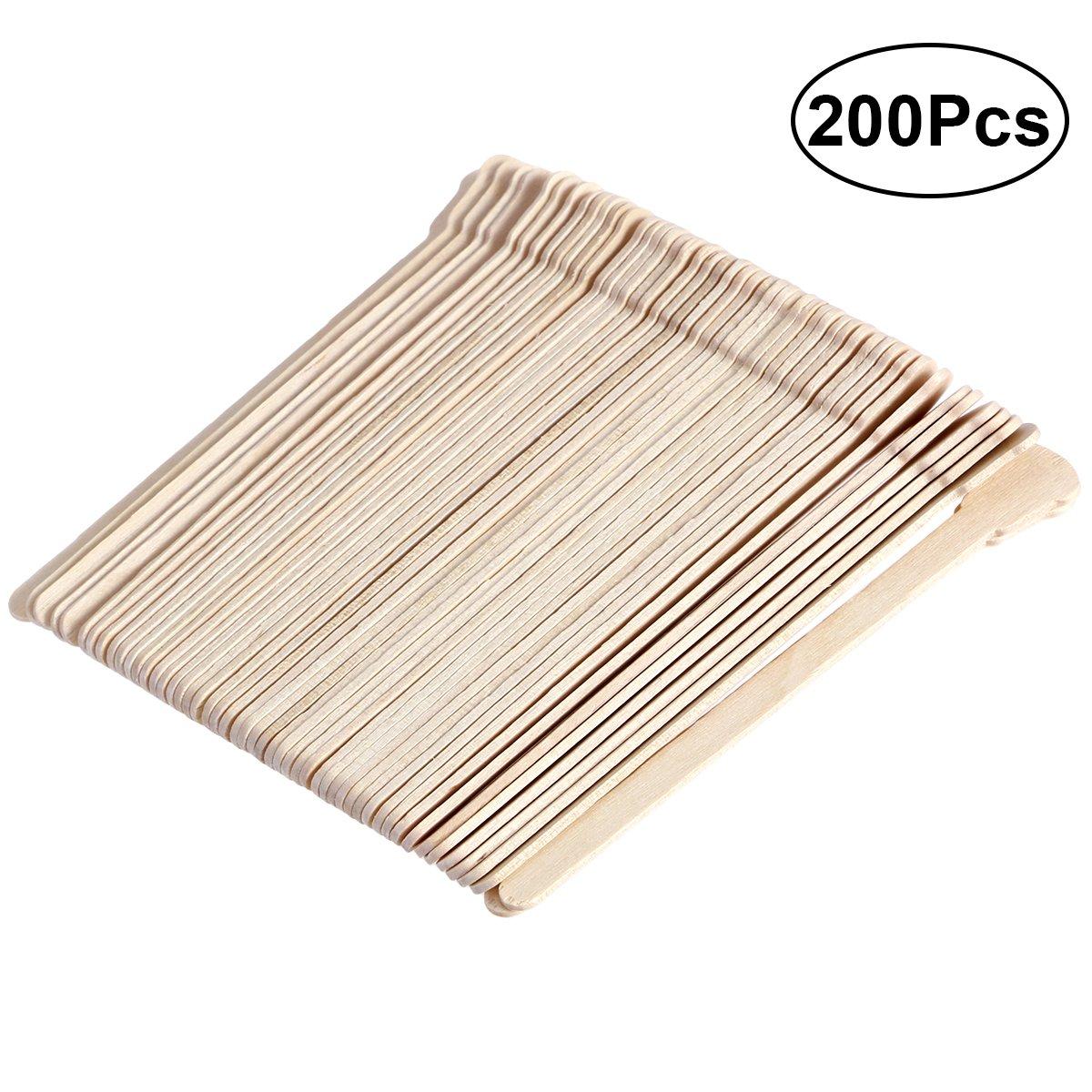 Frcolor 200Pcs Wax Applicator Sticks,Disposable Wooden Depressors Spatulas (Original Wooden Color)