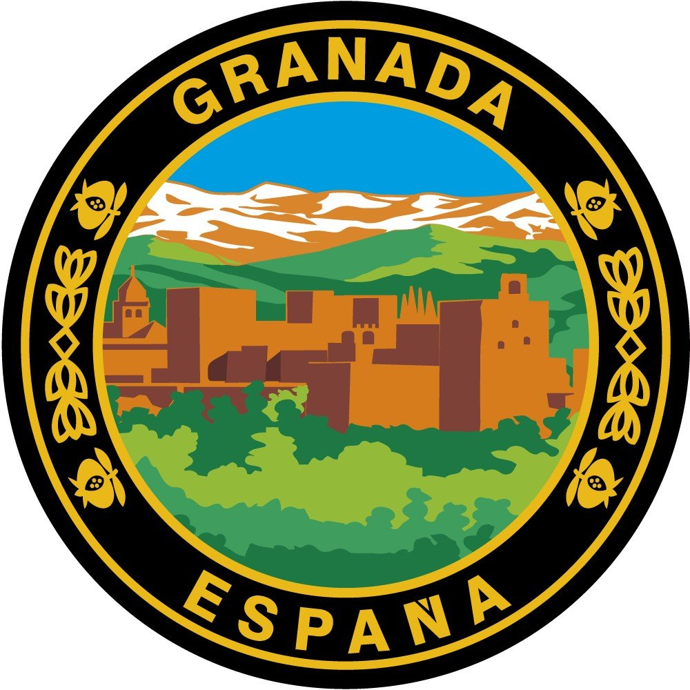 Artimagen Pegatina Círculo Alhambra Granada ø 50 mm. Ediciones Imagina S.L.