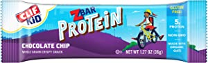 CLIF KID ZBAR - Protein Granola Bars- Chocolate Chip - (1.27 Ounce Gluten Free Bars, Lunch Box Snacks, 5 Count)