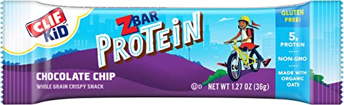 CLIF KID ZBAR – Protein Granola Bars – Chocolate Chip – 1.27 Ounce Gluten Free Bars, Lunch Box Snacks, 10 Count