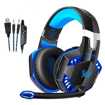 Auriculares Cascos Gaming de Diadema Cerrados Micrófono , Gaming Headset con 3.5mm Jack Luz LED