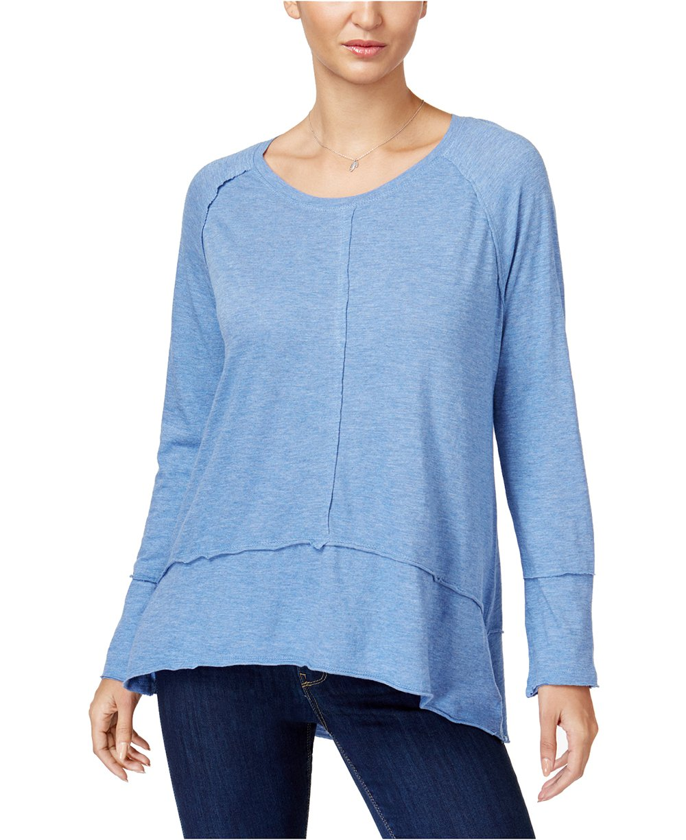 Style & Co.. Women's Cotton High-Low Top (Carbon Blue Heather, Small)