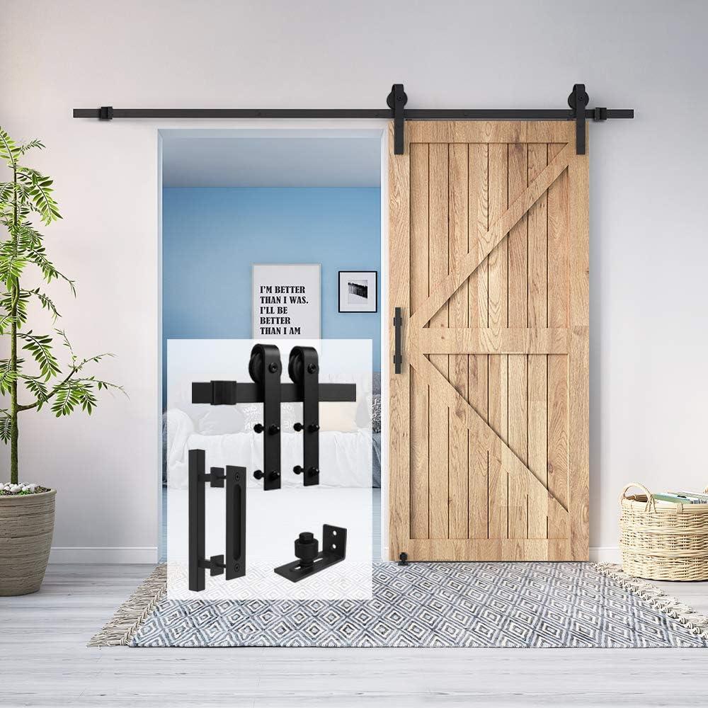"""Homlux 6ft Heavy Duty Sturdy Sliding Barn Door Hardware Kit Single Door Whole Set Include 1x Square Door Handle, 1x Floor Guide - Fit 1 3/8-1 3/4"""" Thickness Door Panel(Black)"""