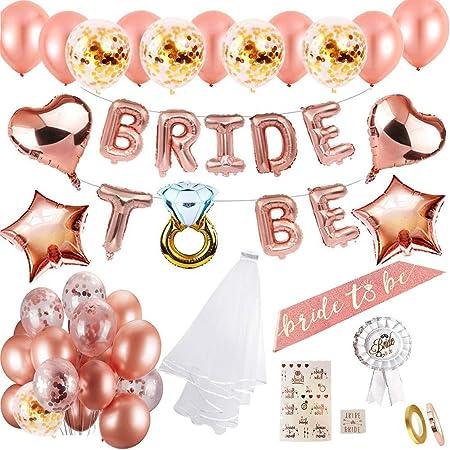 MMTX Hen party decoración para bodas fajín de novia velo bodas bandera Confetti Oro rosa globos,Estrella Corazón globos papel aluminio placa Tatuajes para despedida soltera Noche de gallina fiesta: Amazon.es: Hogar