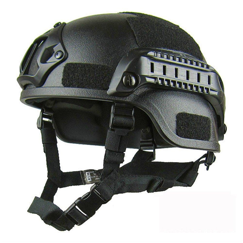 TAKEMORE7 - Casco de protección MICH 2000 con riel lateral y soporte NVG Folio, para deportes al aire libre, Airsoft, táctico, militar, Paintball, caza, juego CS, color Army Green, tamaño Tamaño libre