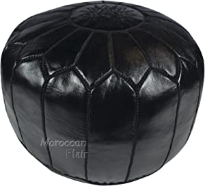 "Moroccan Flair | Genuine Handmade Moroccan Leather Pouf | Bedroom & Living Room Round Ottoman | Authentic Goat Skin Leather | Eco-Friendly Materials | 20"" x 20"" x 14"" 