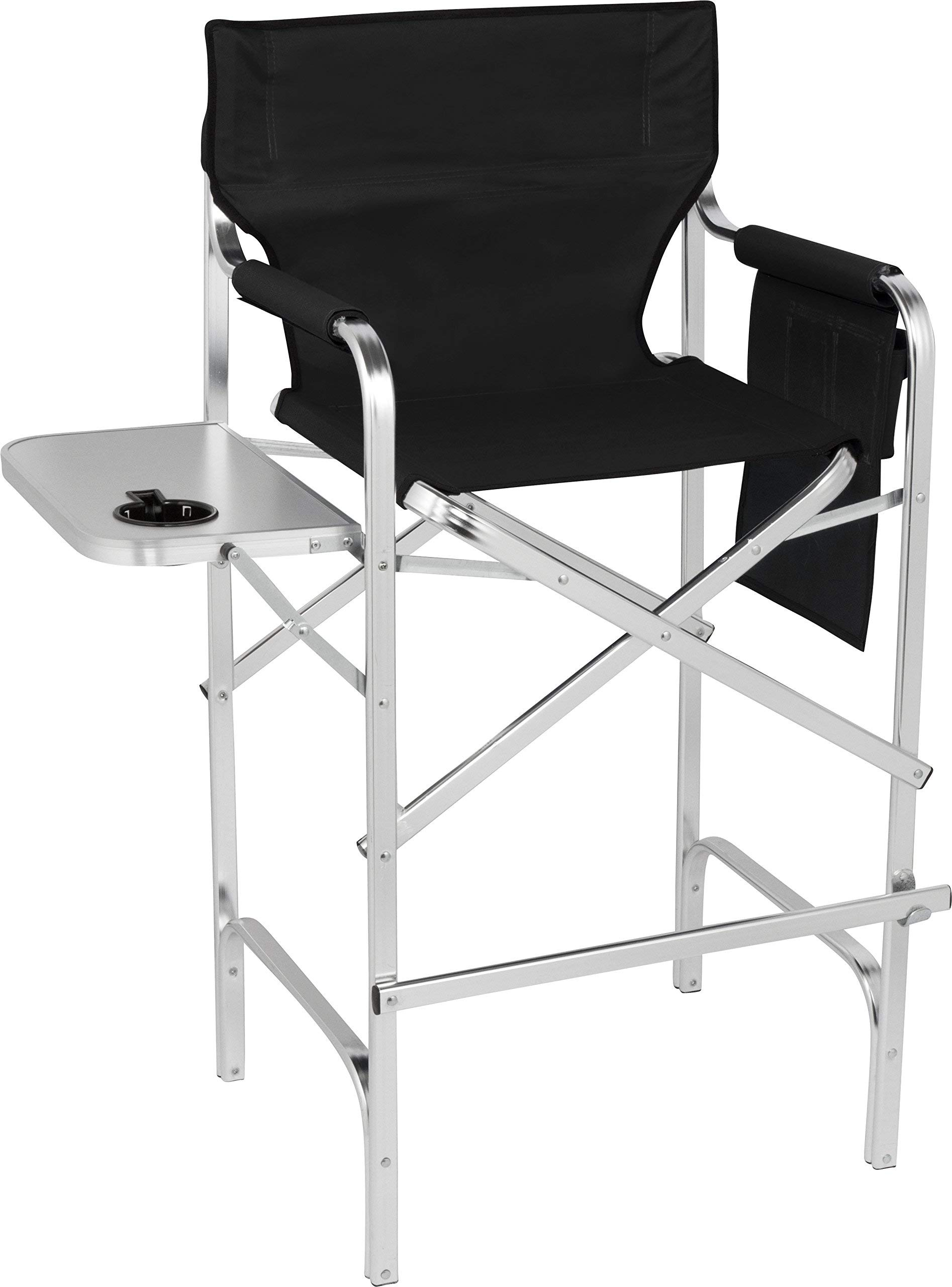 Trademark Innovations 45'' Aluminum Frame Tall Metal Director's Chair with Side Table (Black) (Renewed) by Trademark Innovations