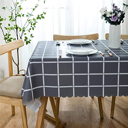 Kitchen Round Grey Checked Tablecloth Wipe Waterproof Dining Table PVC Cover