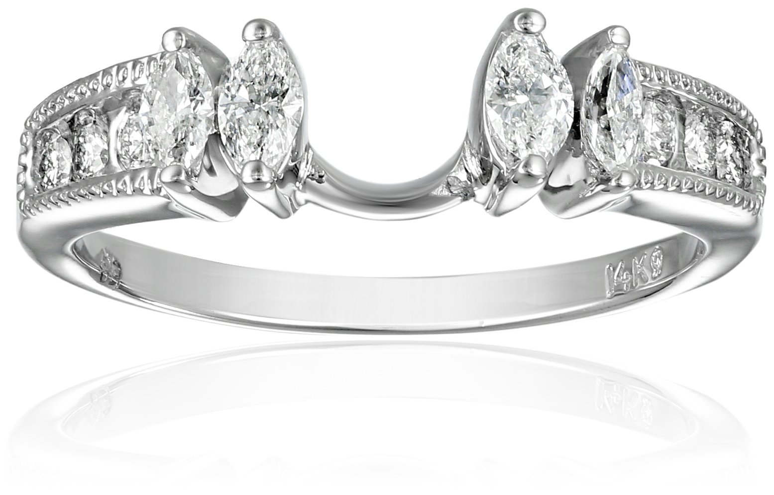 14k White Gold Round and Marquise Diamond Solitaire Engagement Ring Enhancer (1/2 carat, H-I Color, I1-I2 Clarity), Size 7