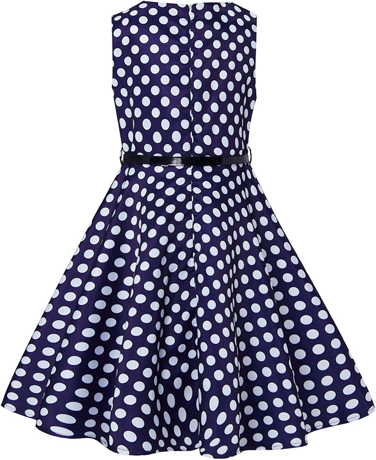 Idgreatim Girls Sleeveless Vintage Dress Rockabilly Floral Print Swing Party Dresses