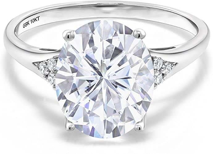 2ct Oval-Cut Moissanite Diamond Solitaire Engagement Ring 10k White Gold Finish