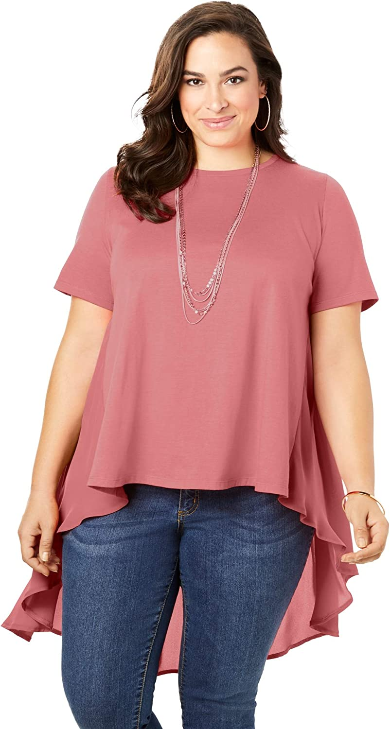Roamans Womens Plus Size Embroidered Cold-Shoulder Top