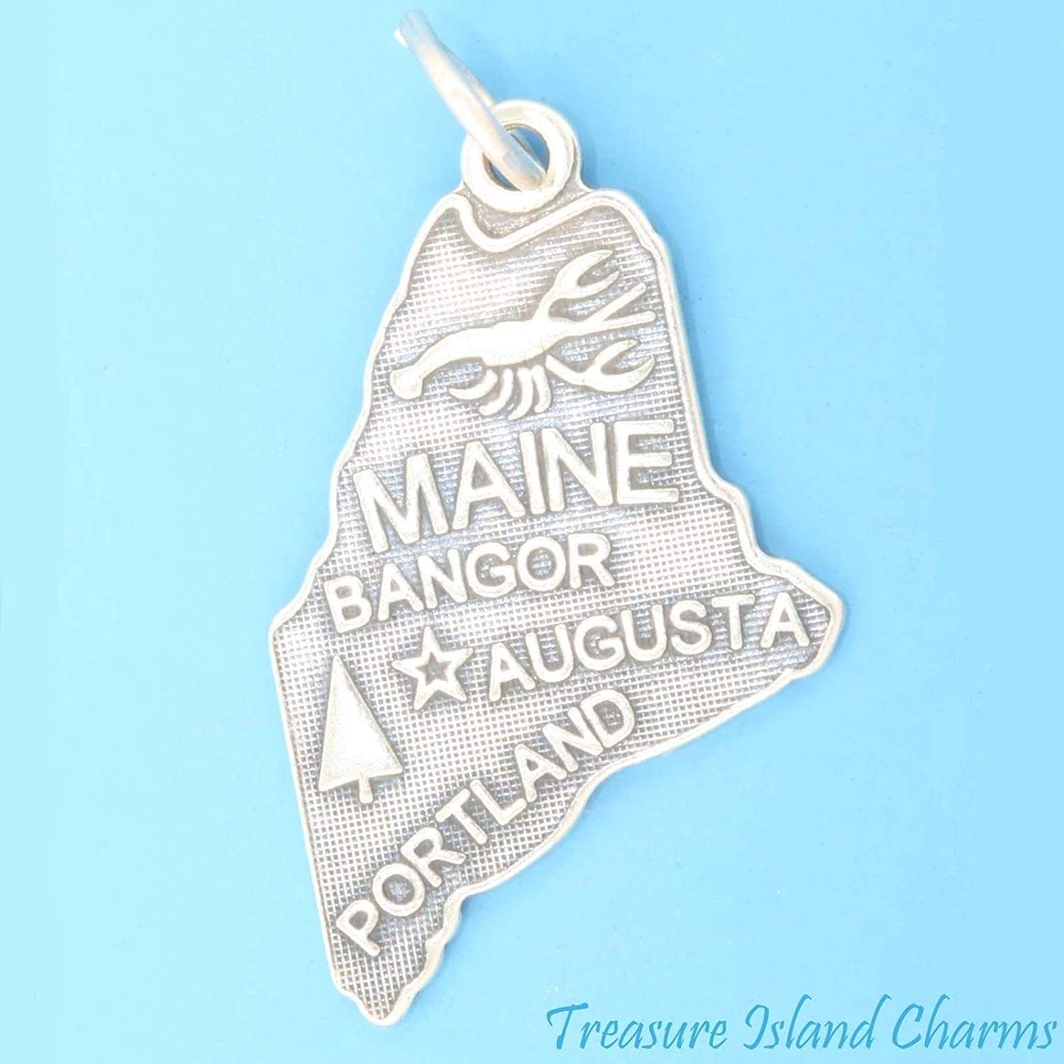 Maine State MAP Portland Augusta Bangor .925 Solid Sterling Silver Charm Pendant Ideal Gifts, Pendant, Charms, DIY Crafting, Gift Set from Heart by Wholesale Charms