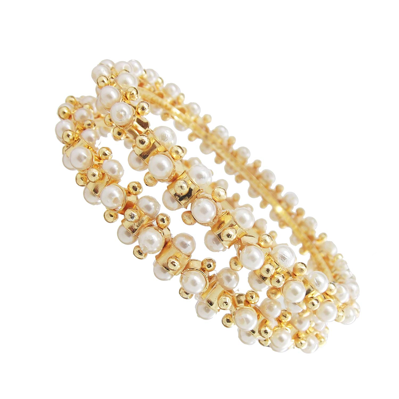 Biyu Gopi White Pearl Gold Plated 2pc Kada Bangles Womens//Girls