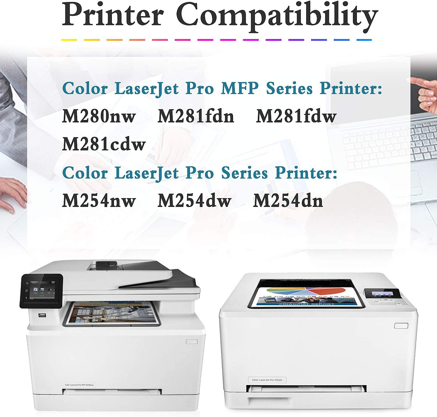 M280nw M281fdn M281fdw M281cdw M254nw M254dw M254dn Printer Toner Cartridge Replacement for HP 202A CF500A Toner Cartridge 2 Pack Black Sold by TmallToner