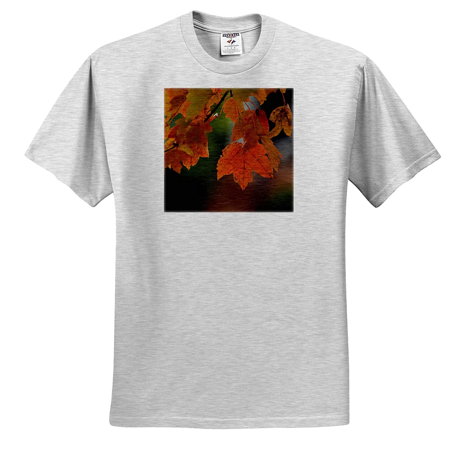 3dRose Stamp City Photograph of Autumn Maple Leaves Stylized in an Oil Paint Effect Nature - T-Shirts