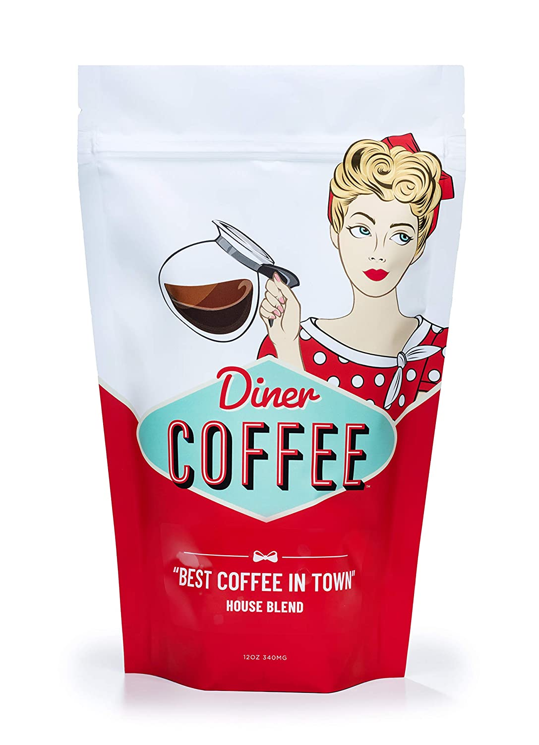 Diner Coffee-Roasted House Blend Fresh from the Roaster - Classic Old-Fashioned Flavor, Extra Smooth Brewed Taste, and Full-Body Aroma - Daily Brew Essential Pack (Medium Roast, 12 Ounce Whole Bean)