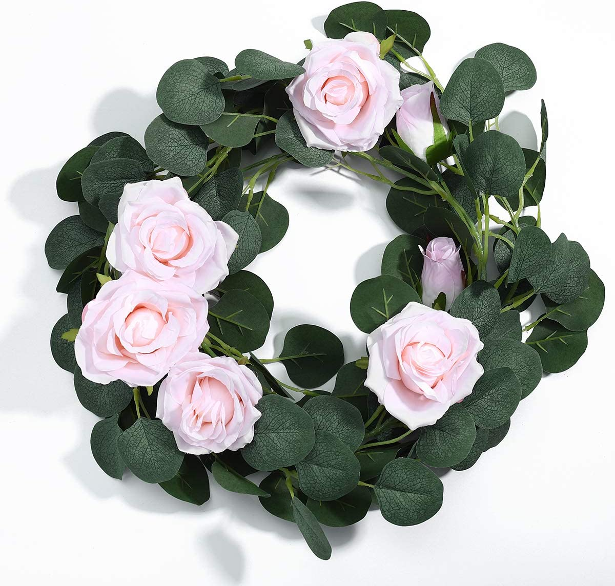 Artificial Rose Flower Garland, 6.6 FT Hanging Flower Strings Greenery Garland for Home Wall Lawn 2 Pack