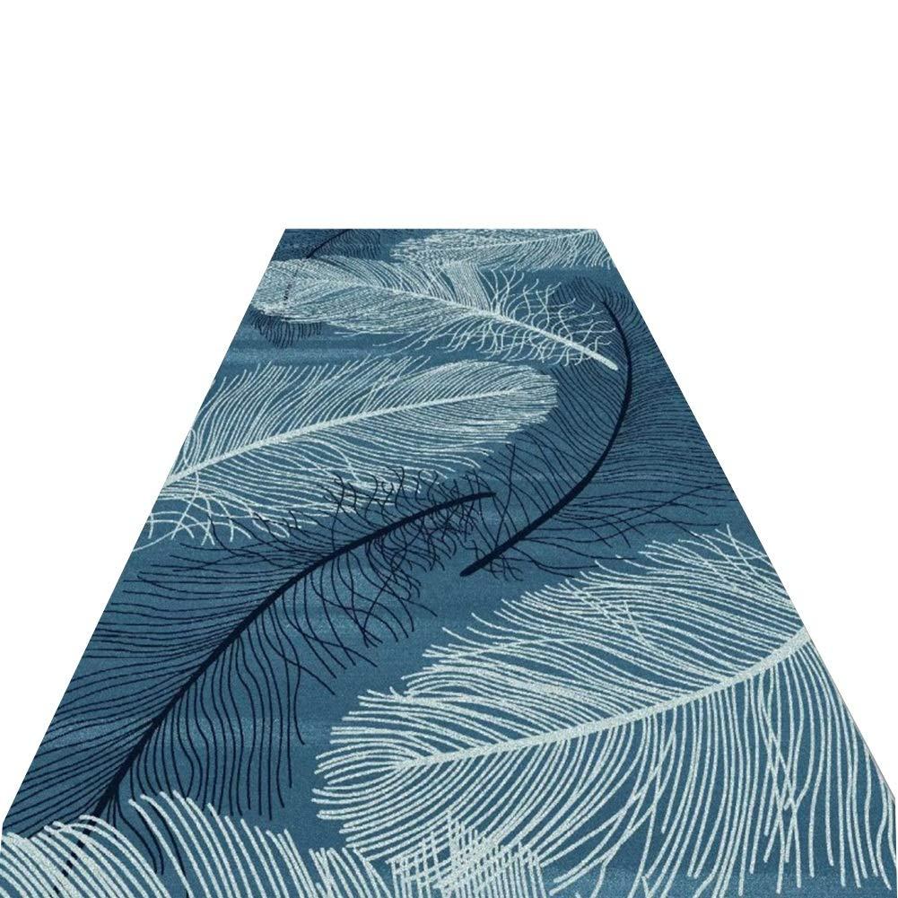 YANGJUN 廊下のカーペット 滑り止め 洗える イージーケア 丈夫 ホテル 通路 家庭 フェザー カッタブル 複数のサイズ カスタマイズ可能 青 (色 : A, サイズ さいず : 1.4x6m) 1.4x6m A B07PZ77FWT
