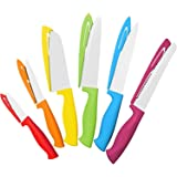 12 Piece Colorful Steel Knife Set - 6 Steel Kitchen Knives with 6 Knife Sheath Covers - Chef Knife Sets with Bread, Slicer, Santoku, Utility and Paring Knives - Colored Knife Set by Cooler Kitchen