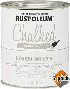 Rust-Oleum 285140 Ultra Matte Interior Chalked Paint 30 oz, Linen White (2 Pack)