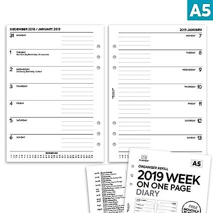 NBplanner/® 2019 Agenda semanal en una p/ágina con planificador de notas organizador ingl/és tama/ño A5 colecci/ón b/ásica