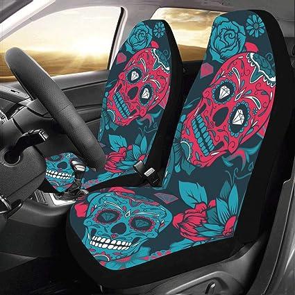 Surprising Artsadd Sugar Skull Car Seat Covers Set Of 2 Best Automobile Seats Protector Machost Co Dining Chair Design Ideas Machostcouk
