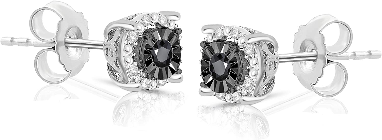 Genuine Black Diamond Halo Earrings Available in Round and Princess Shape