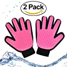 Pet Grooming Tool - Pet Grooming Supplies - Fur Remover - Deshedding Brush -- Dog and Cat Massage Glove - Massage Tool with Enhanced Five Finger Design - Perfect for Dogs & Cats with Long & Short Fur (pink)