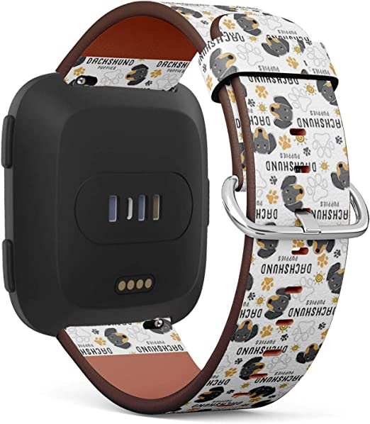 Dogs of Different Breeds Patterned Leather Wristband Strap Compatible with Fitbit Versa