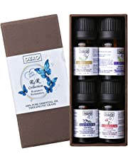 OZRO Top 4 Aromatherapy Essential Oils set - Lavender, Geranium, Clary Sage, Frankincense - Romance & Relaxation Collection Certified 100% Pure Essential oil - Highest Quality Therapeutic Grade - 0.33 Fl. Oz. (4 x 10 ml)