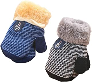 MarJunSep 2-Pack Winter Warm Baby Gloves Full Fingers Infant Girls Boys Thicken Knit Mittens String Kids Gloves Mittens for 6 Months - 3 Years B-Pack