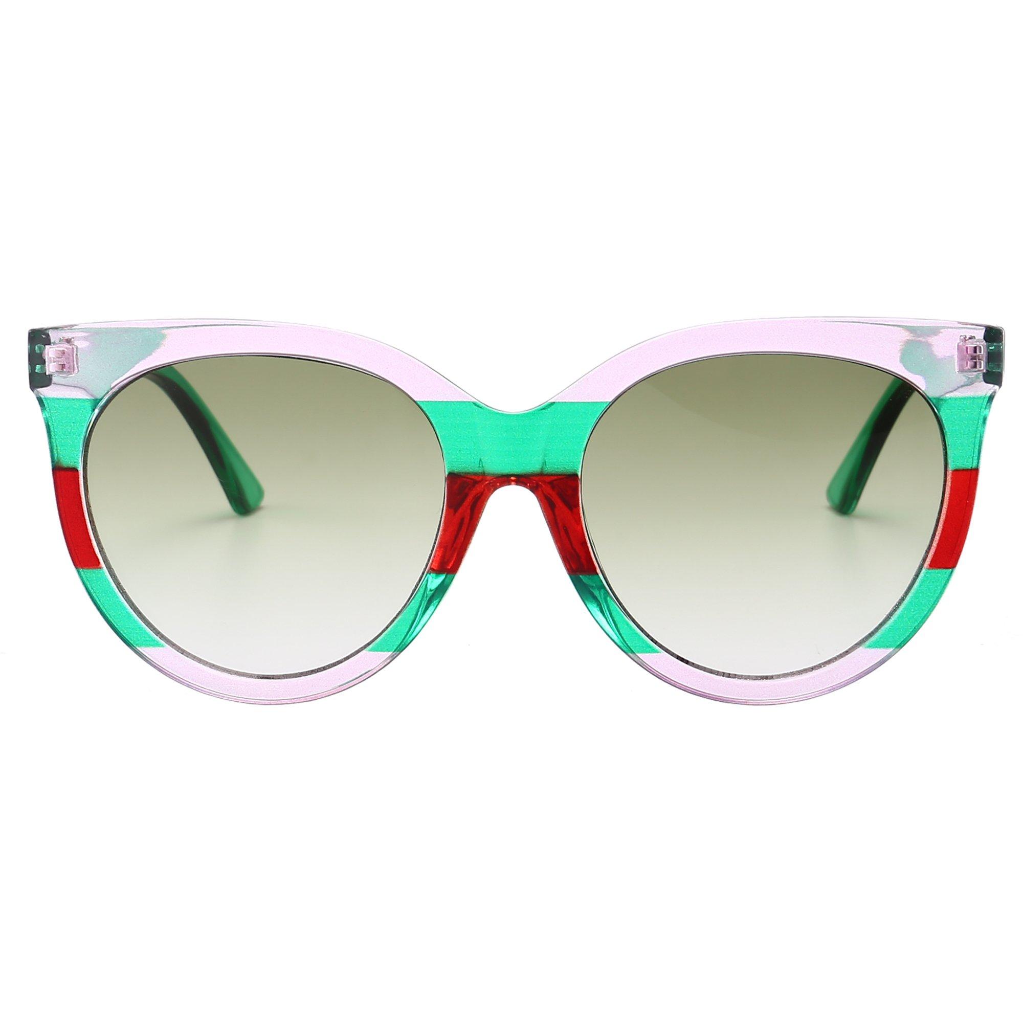 Sunglasses for Women Trendy Luxury Oval Oversized Brand Designer Sun Glasses (Pink-green Frame/Green) by GOBIGER