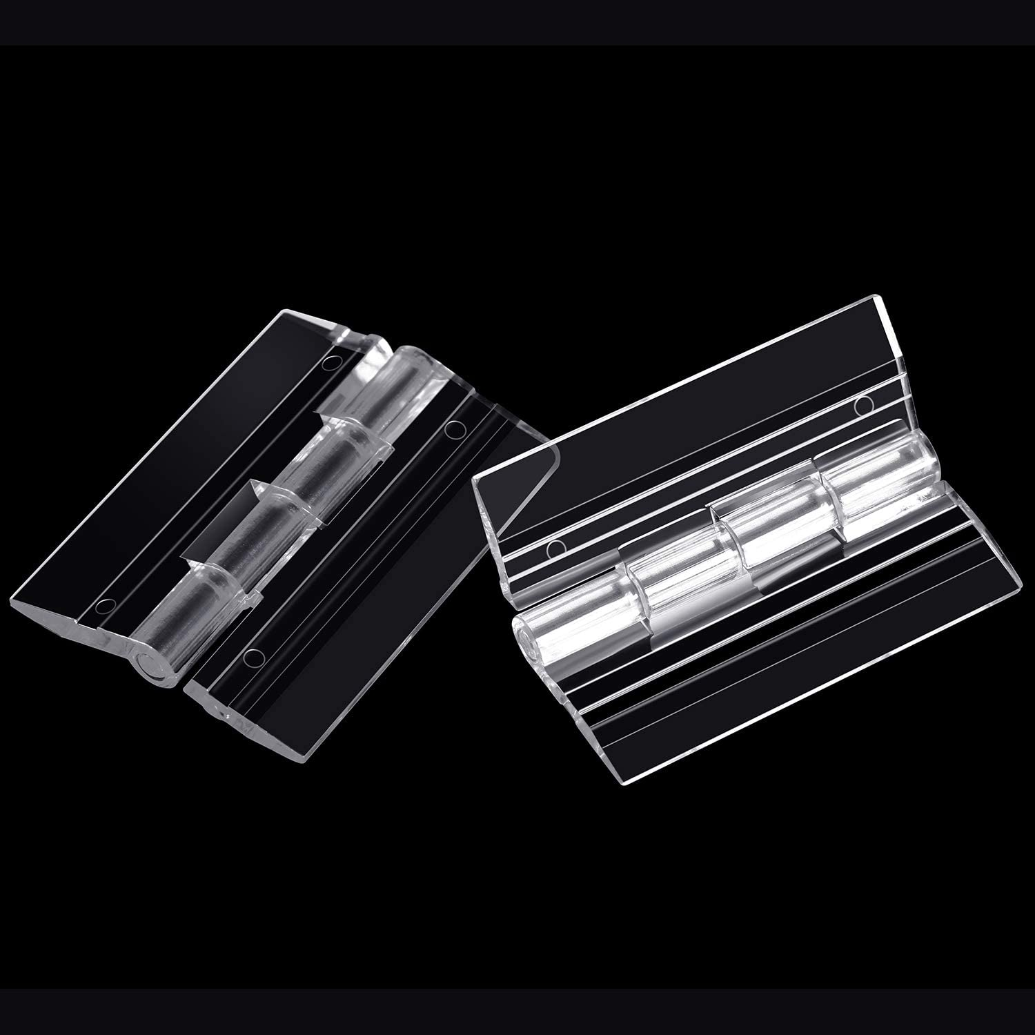 20 Pieces Acrylic Hinges Clear Acrylic Mini Hinge Transparent Plastic Folding Hinge Tools with Storage Box for Cabinet Drawer