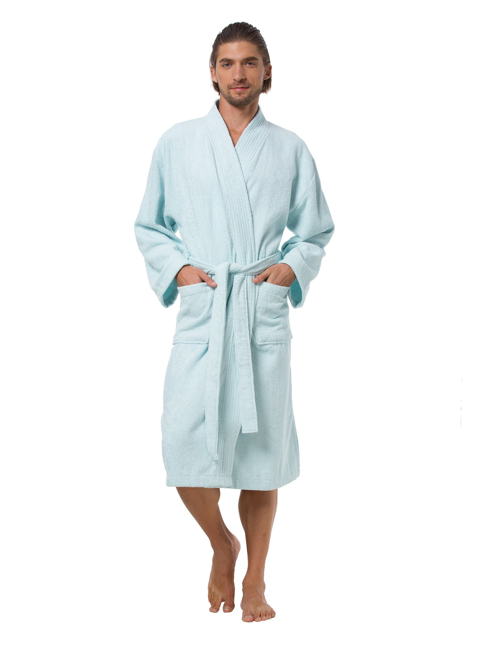 SIORO Robe Plus Size for Men Soft Cotton Bathrobe Long Kimono Robe with Pockets Casual Sleepwear Warm Absorbent Loungewear Gown Solid Skylight XL by SIORO