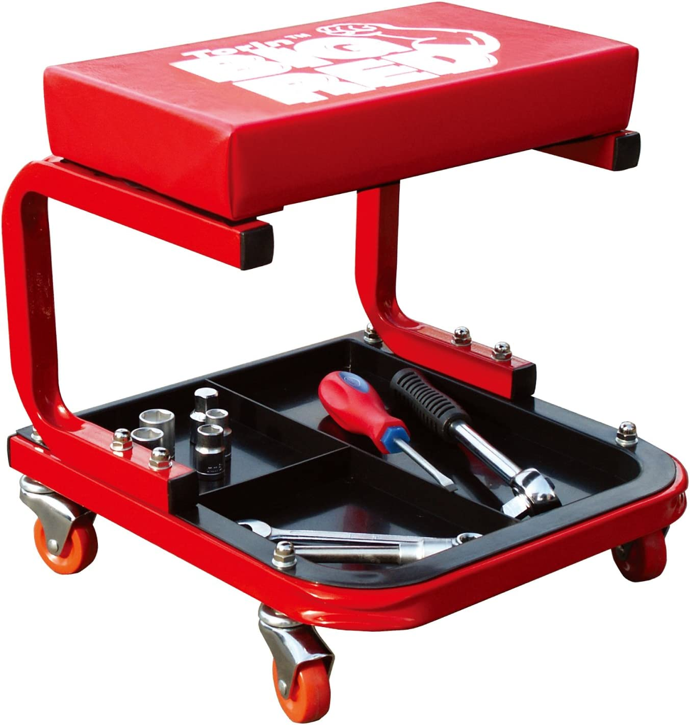 Torin TR6300 Red Rolling Creeper Garage/Shop Seat: Padded Mechanic Stool with Tool Tray: Automotive