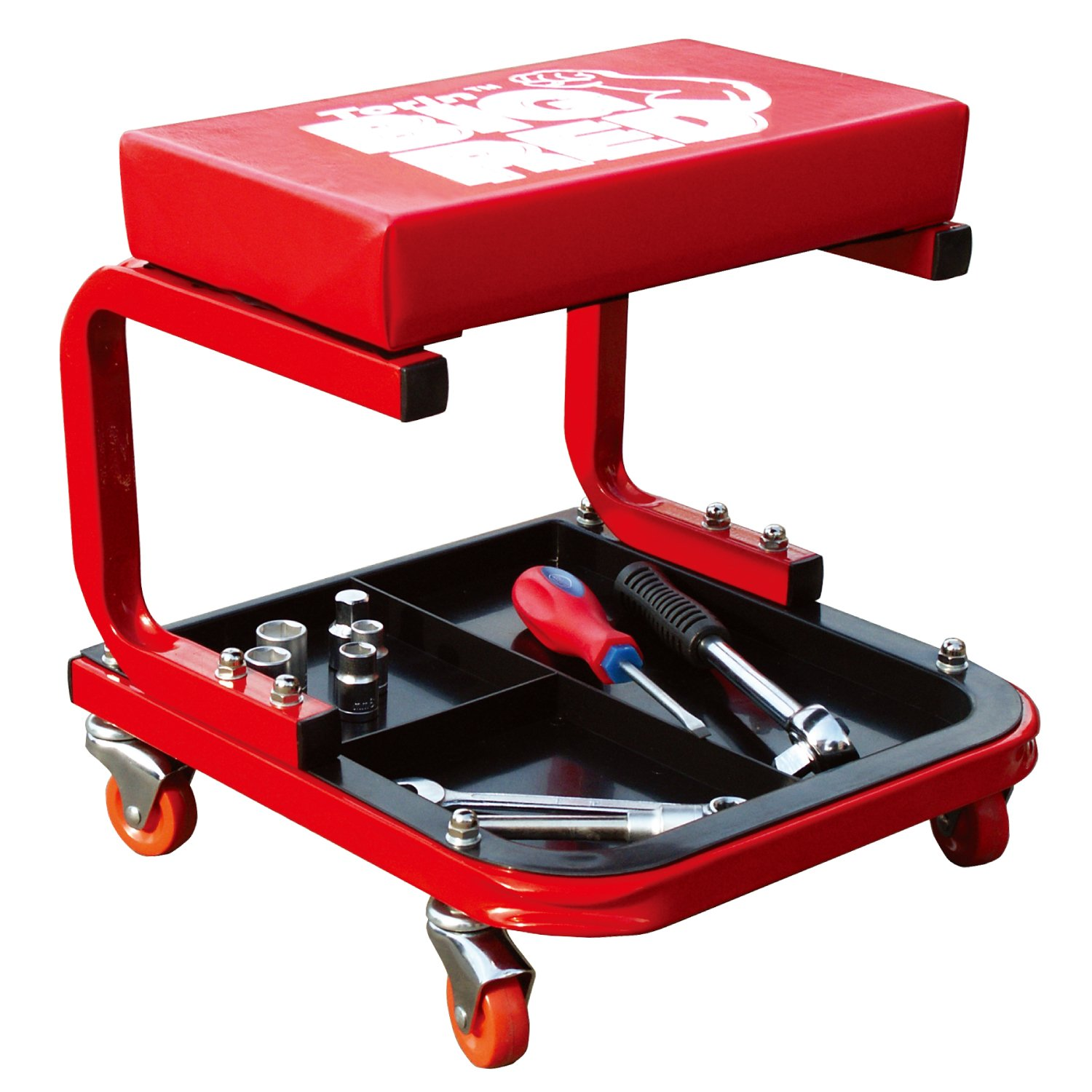 Torin Big Red Rolling Creeper Garage/Shop Seat: Padded Mechanic Stool with Tool Tray, Red TR6300