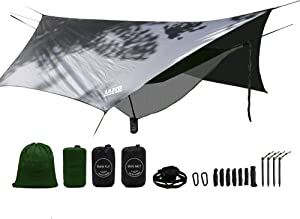 LAZZO Double Camping Hammock   Bundle Includes Net, Tarp, Tree Straps, Backpack   Weighs 4 Pounds, Perfect for Hammock Camping,Backpacking,Hiking   Lightweight Nylon