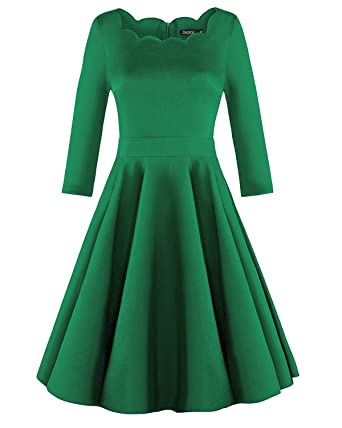 Ouges Womens 1950s Scalloped Neck Vintage Cocktail Dress At Amazon