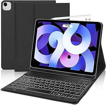 SENGBIRCH Funda con teclado compatible con iPad | Teclado Bluetooth (teclado retroiluminado en alemán) [Negro -Protectores aire 4 2020]